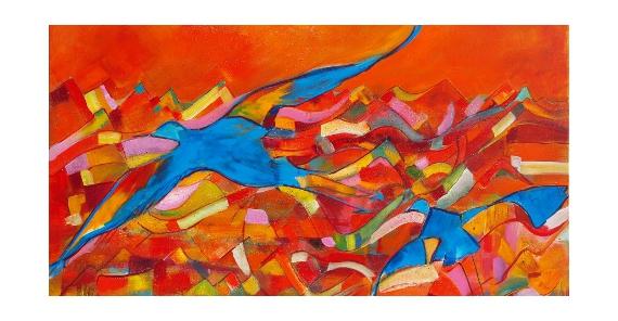tableau peinture oiseau color stylis l 39 oiseau bleu. Black Bedroom Furniture Sets. Home Design Ideas