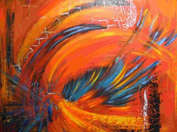 Tableau peinture oiseau de feu - Tableau peinture grand format ...