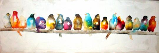 tableau peinture oiseaux couleurs panoramique encre oiseaux. Black Bedroom Furniture Sets. Home Design Ideas
