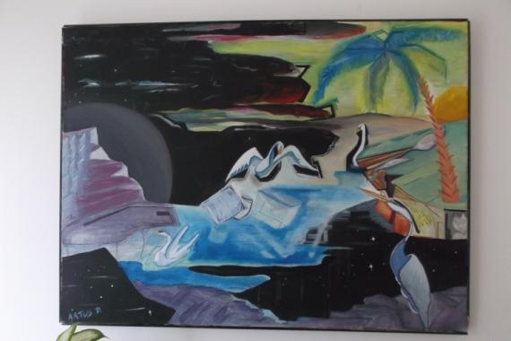 tableau peinture oiseaux huile sur toile normandie