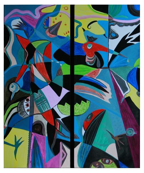 tableau peinture oiseaux multicolore abstrait g om trique zoizellerie dyptique. Black Bedroom Furniture Sets. Home Design Ideas