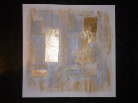 Tableau peinture or argent contemporain lumineux abstrait or et argent vendu - Tableau lumineux design ...
