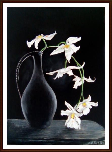 Tableaux fleurs acrylique orchid es id e d 39 image de fleur - Tableau triptyque fleurs blanches ...