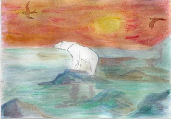 tableau peinture ours polaire arctique fonte de la. Black Bedroom Furniture Sets. Home Design Ideas