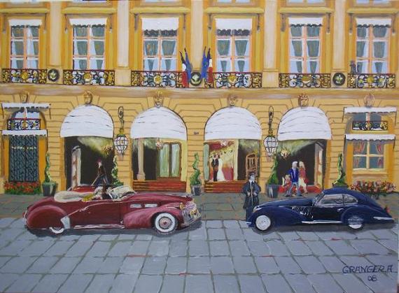 tableau peinture palace voiture paris vintage les mari s de la place vend me. Black Bedroom Furniture Sets. Home Design Ideas