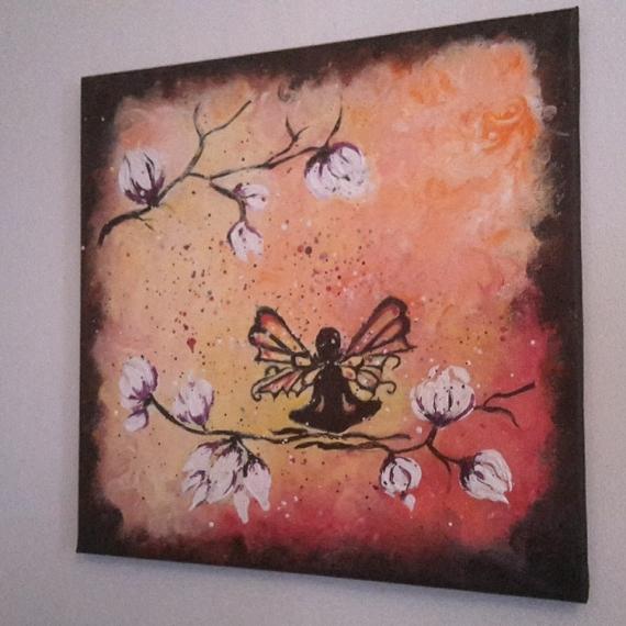 Tableau peinture papillon peinture figuratif moderne tableau acrylique papillon et magnolia - Tableau peinture acrylique moderne ...
