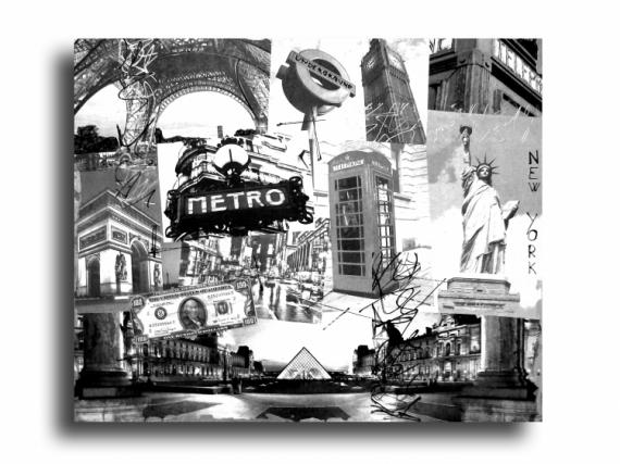 Tableau peinture paris londres new york design tableau paris new york londr - Tableau noir et blanc new york ...