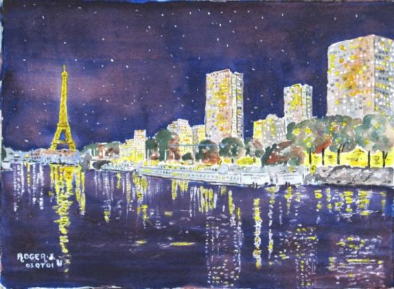 Tableau peinture nuit for Piscine de nuit paris