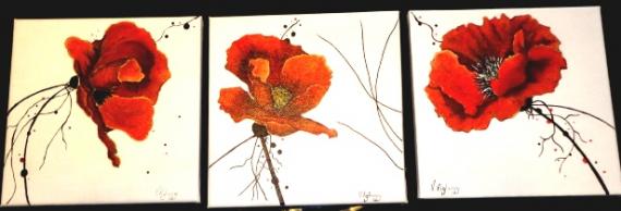tableau peinture pavots coquelicot contemporain rouge tryptique les pavots. Black Bedroom Furniture Sets. Home Design Ideas