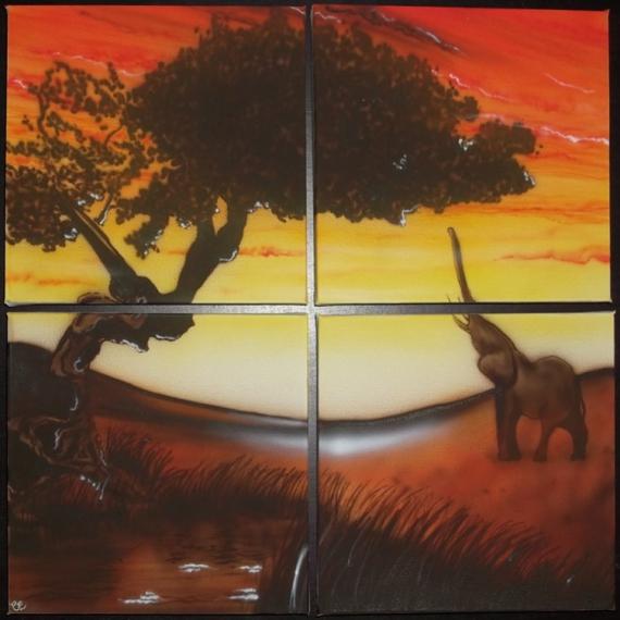 tableau peinture paysage affrique elephant paysage africain. Black Bedroom Furniture Sets. Home Design Ideas