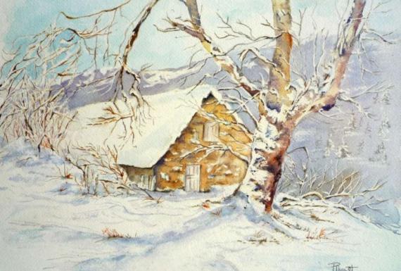 tableau peinture paysage aquarelle neige montagne hiver. Black Bedroom Furniture Sets. Home Design Ideas