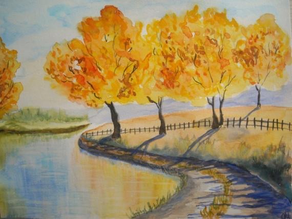 tableau peinture paysage automne aquarelle fort aquarelle paysage promenade au bord de l 39 eau. Black Bedroom Furniture Sets. Home Design Ideas
