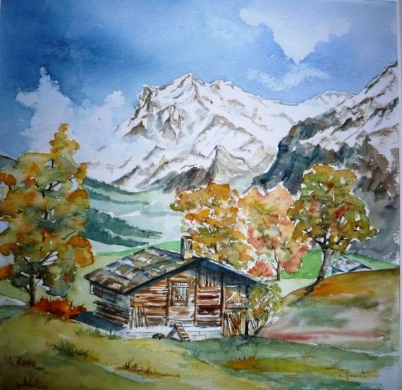 tableau peinture paysage automne montagne campagne. Black Bedroom Furniture Sets. Home Design Ideas