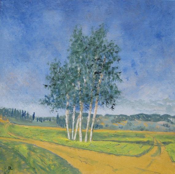 Tableau peinture paysage campagne achat huile paysage arbres bouquet d 39 - Achat de peinture acrylique ...