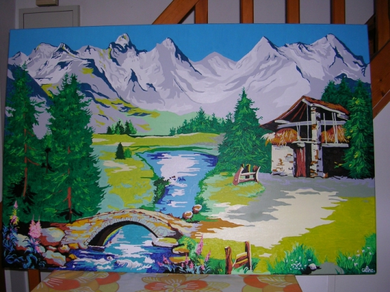 tableau peinture paysage de montagne. Black Bedroom Furniture Sets. Home Design Ideas