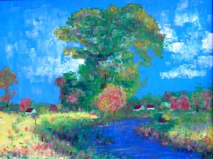 Tableau peinture paysage impressionisme rivière alsace paysages
