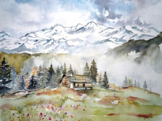 tableau peinture paysage montagne aquarelle campagne la brum se l ve. Black Bedroom Furniture Sets. Home Design Ideas
