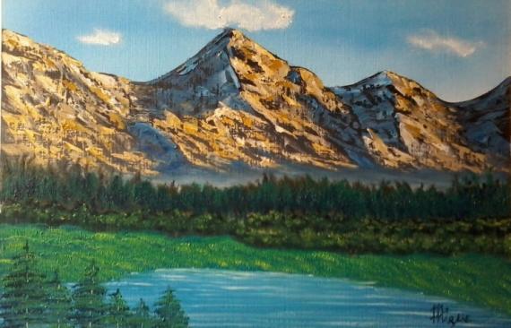 tableau peinture paysage montagne lac paisible paysage de montagnes. Black Bedroom Furniture Sets. Home Design Ideas