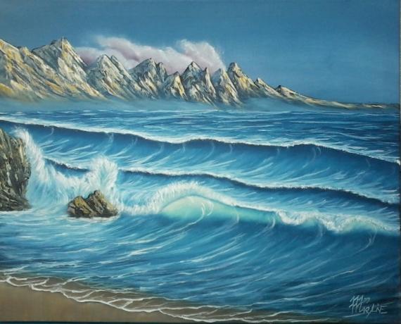 tableau peinture paysage montagne mer ocean vague vague. Black Bedroom Furniture Sets. Home Design Ideas