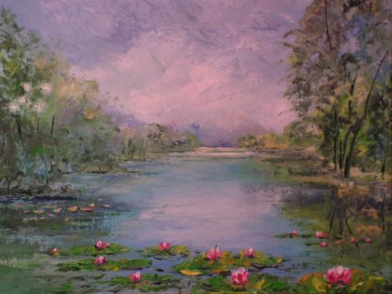 Tableau peinture paysage la marre aux nenuphares - Creation tableau photo ...