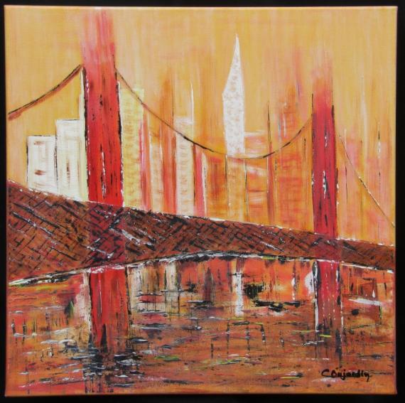 Tableau peinture paysage pont new york building brume - Grand tableau new york ...