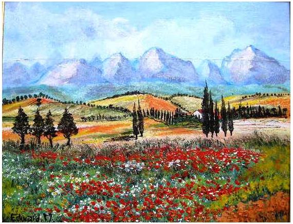 tableau peinture paysages luberon