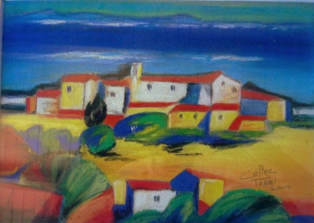 Tableau peinture paysate jaune bleu sud sud - Peinture jaune pastel ...