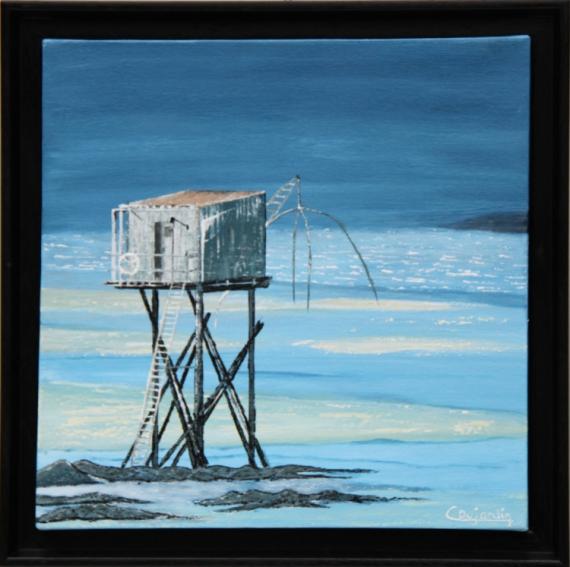 Tableau peinture pecherie mer bord de mer bleu la pecherie for Tableaux bord de mer