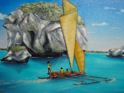 TABLEAU PEINTURE pêcheurs iles mer Nouvelle-Calédonie Marine Peinture a l'huile - Voyage à Lifou