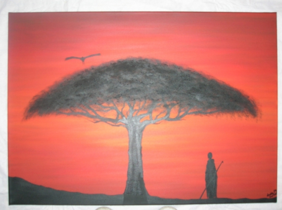 tableau africain rouge