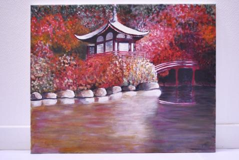 tableau peinture peinture acrylique paysage japon feerie japonaise. Black Bedroom Furniture Sets. Home Design Ideas
