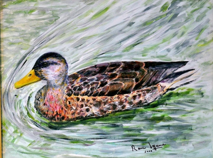 Tableau peinture peinture animaux canard col vert for Peinture vert canard