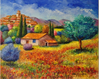 Tableau peinture peinture au couteau peinture huile artiste peintre provence champ de - Peinture au couteau huile ...
