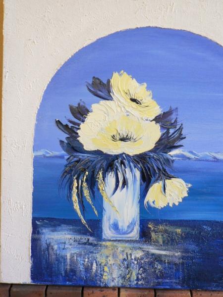 tableau peinture peinture huile bouquet pivoine bleu et blanc structura pl nitude. Black Bedroom Furniture Sets. Home Design Ideas