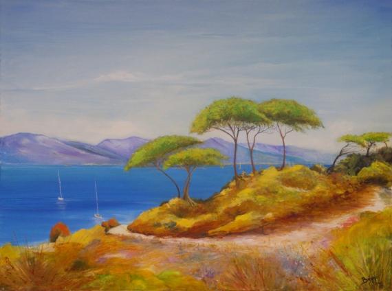 Tableau peinture peinture mer tableau mer tableau paysage for Tableaux bord de mer