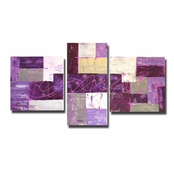 Tableau peinture peinture triptyque violet purple - Peinture violet et gris ...