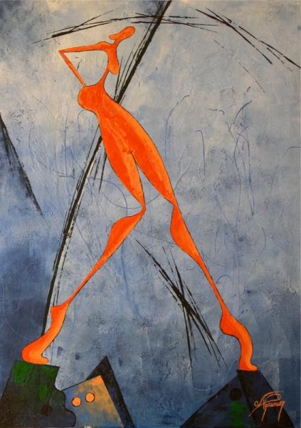 tableau moderne avec personnage