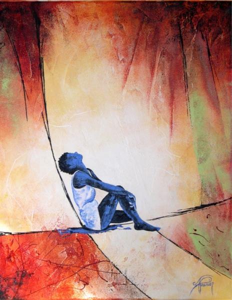 Tableau peinture personnage figuratif zen moderne je - Tableau peinture zen ...