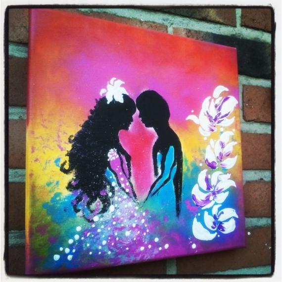 tableau peinture personnage mariage acrylique l 39 amour. Black Bedroom Furniture Sets. Home Design Ideas
