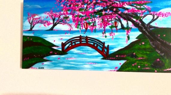 Tableau peinture le jardin japonais for Jardin japonais dessin