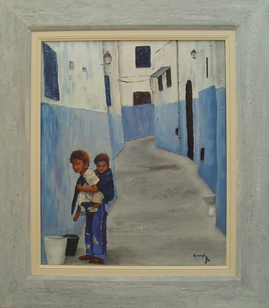 tableau peinture personnages enfants une rue de fes. Black Bedroom Furniture Sets. Home Design Ideas