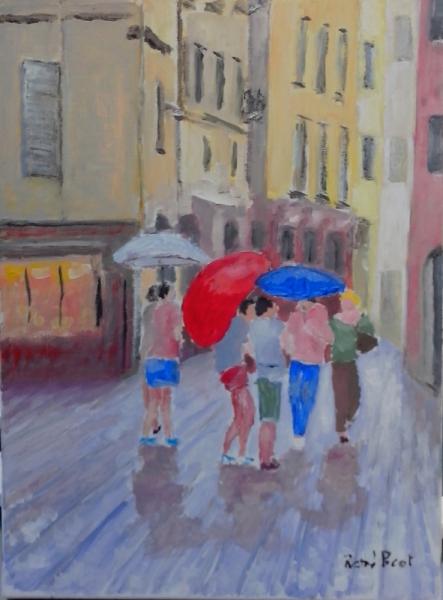 tableau peinture personnages parapluie bergame italie. Black Bedroom Furniture Sets. Home Design Ideas