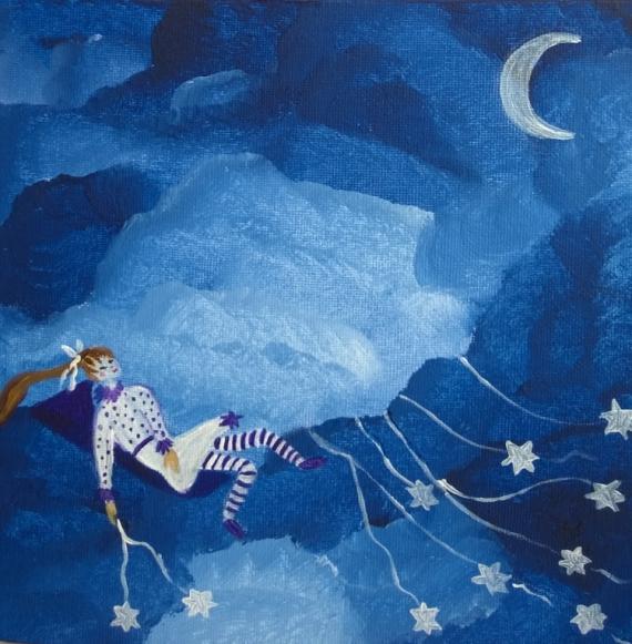 tableau peinture petite fille toiles ciel toile tendresse pour enfant la petite semeuse d 39 toiles. Black Bedroom Furniture Sets. Home Design Ideas
