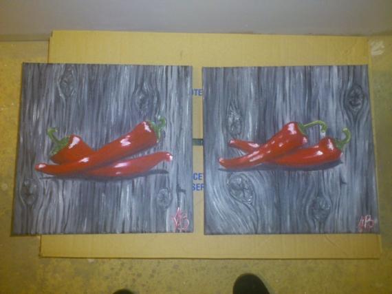 Tableau peinture piment rouge cuisine lgume piments rouges for Peinture acrylique cuisine