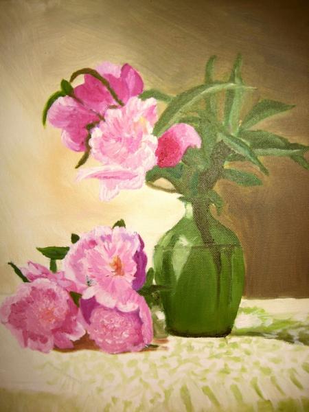 Tableau peinture pivoine fleur bouquet vert pivoines au vase vert vendu for Peinture vert pastel