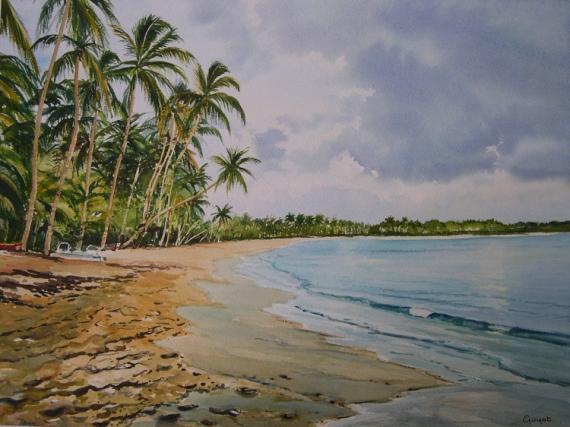 tableau peinture plage martinique antilles cocotiers