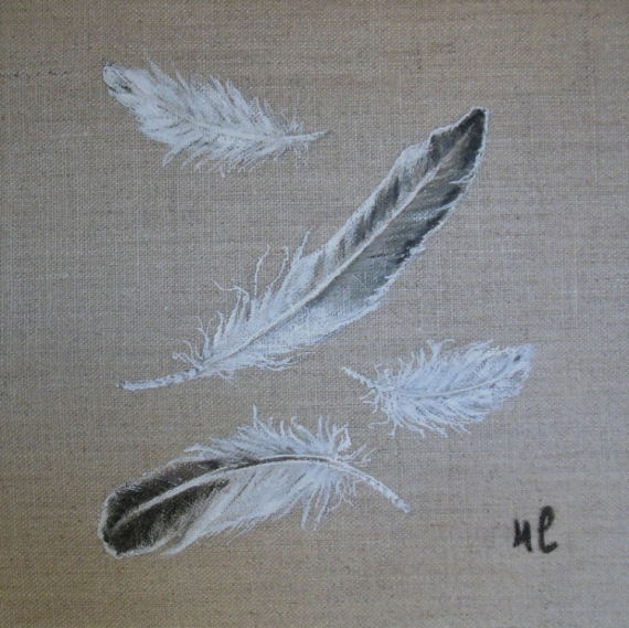 tableau peinture plume lin toile decoration plumes. Black Bedroom Furniture Sets. Home Design Ideas