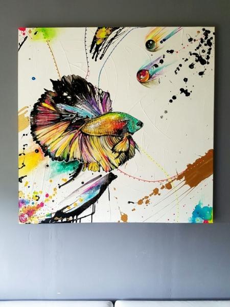 tableau peinture poisson color couleur poisson combatant fishy dreamer. Black Bedroom Furniture Sets. Home Design Ideas