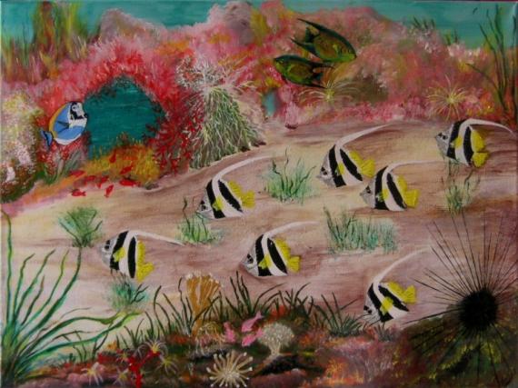 tableau peinture poisson marin recif especes fond marin. Black Bedroom Furniture Sets. Home Design Ideas