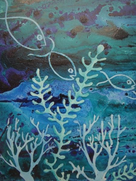 tableau peinture poisson mer coraux fonds marins 3 poissons. Black Bedroom Furniture Sets. Home Design Ideas